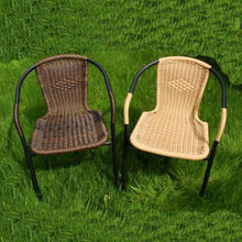High Quality stackable iron tube rattan/wicker dining chair