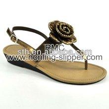 Elegant Shape Rose Wedge Sandals For Woman