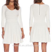 seven half sleeve knitted slim fitting mature women dresses,white dresses for women,pictures formal dresses