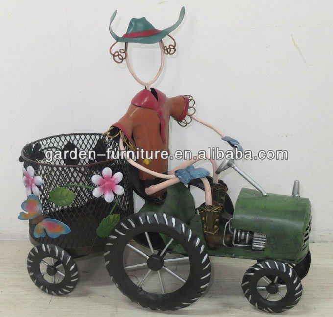 d cor jardin en fer forg cowboy d coratif tracteur m tal. Black Bedroom Furniture Sets. Home Design Ideas