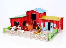 popular kids educational pretend toy/ DIY wooden happy farm