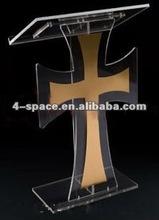 Acrílico/plexiglass igreja pódios e atris/stand/pedestal com cruz