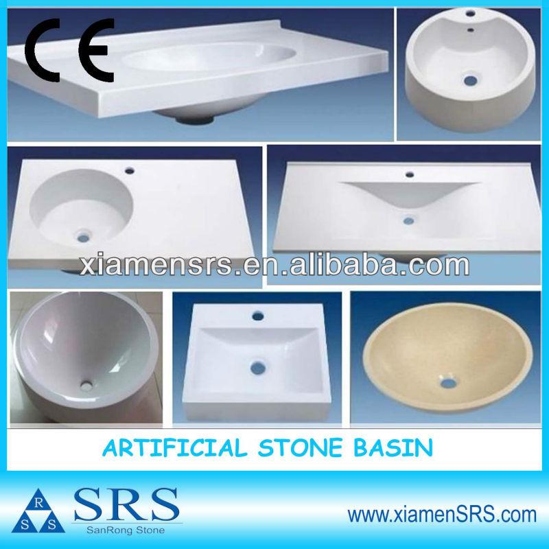 porcellana bianca artificiale di pietra resina stanza da bagno lavandini e vasche-Lavelli del ...