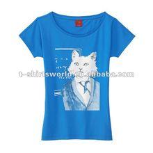 good delivery girls anti-shrink fashion white cat silk screen printing t-shirt