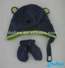 Children's cute animal polar fleece hat glove set