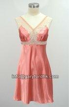 Hot Sexy Satin Night Dress Sleepwear with Laces Trims