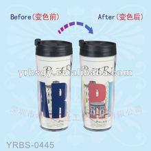2014 Hot Sale!!! 350ml Double Wall Plastic Hot Water Thermal Color Changing Mug,Plastic Magic Mug