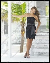 Charming Strapless Short Black Lace Cocktail Dress With Sash PS-178