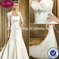 Goingwedding querida corpete frisada por atacado A linha vestido de casamento com Lace Bolero Jacket 2014 DE022