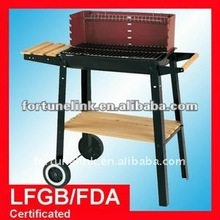 Garden wagon charcoal barbecue grill with windshield (FEQ433)