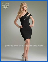 One Shoulder Black Sexy Short Cocktail Dresses 2012