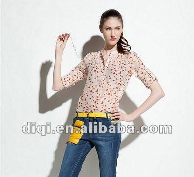 Gasa de la manga larga de la blusa para 2015 de moda diseño de la