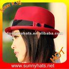 100% Wool felt Black and Red fedora hat