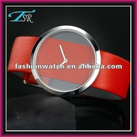 2016 made in china OEM branded logo colored pu leather strap women lady watch