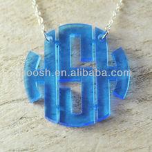 Block Monogram Necklace With Fashion Design, Monogram Acrylic Necklace