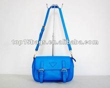 2013 ladys PU blue messenger bag shoulder bag with double belts