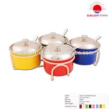 Set of 4 condiment pots
