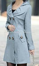2014 hot sale pictur of the breast of Pure color Lapel double-breasted midi ladi lady coat blazer design pattern