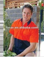 Two Tone Designer Hi-Vis Short Sleeve Orange Mechanic Work Shirts
