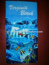 Ocean blue 100% cotton velour reactive printed beach towel