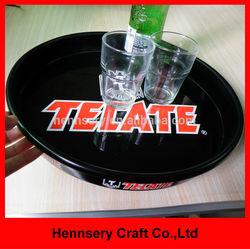 beer bar pub anti slip plastic and tin serving tray