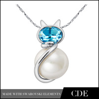 CDE Hot Sale Pearl Cat Pendant Necklace Jewle Real Pearl Necklace Price