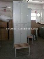 Galvanized steel 4 doors antirust sailor locker for changing room,knock down locker and wooden bench