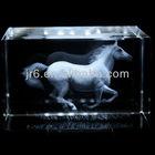 Transparent Cuboid Roaring Horse Crystal 3D Laser Etched