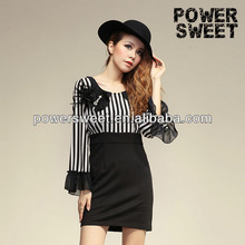 stripes black up waist fitted dress for office lady