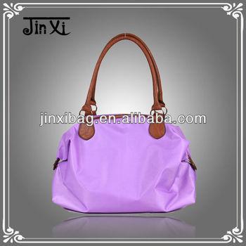 Popular monochrome purple nylon women's bag