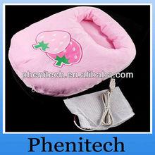 ultimo elegante e bella rosa fragola cartoon portatile usb scaldino elettrico piede pantofola