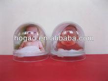 plastic snow globe with photo insert,plastic photo frame snow globe
