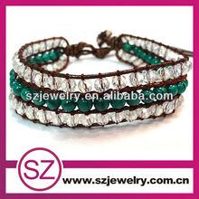 NTB0267Beautiful fashion new design personalized popular wraps genuine leather gemstone bracelet 2015 for whosales