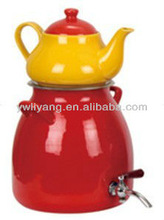 2 Pcs high quality red Decal enamel kettle and yellow Ceramic Kettles Enamel High Kettle Set With Double Handle