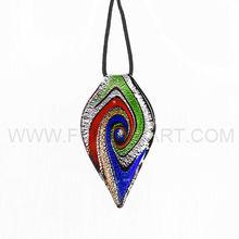 Leaf Lines Volute Murano Gold-Dust Lampwork Glass Pendant