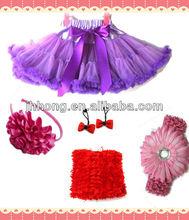 cheap Wholesale Pink Kids Girls Full Pettiskirt Princess Girl Dancewear Kids hair accessories set