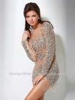 Ready To Ship 2013 Sexy Short Beaded Crystal Formal Long Sleeve Evening Dress