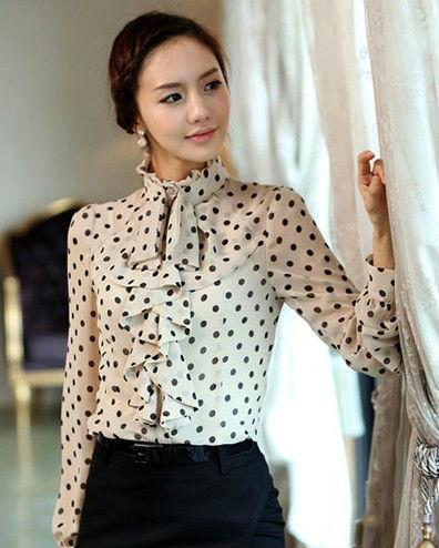 El último diseño elegante blusas en chifon / mujeres punto camisa / camisa elegante 2013