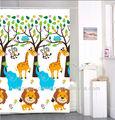 león de dibujos animados animal print cortinadeducha sin gancho