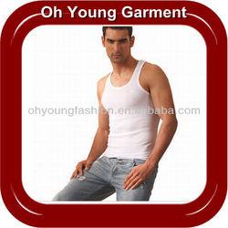 Custom Lycra Cotton/Spandex Plain Blank White Vest Cheap Tank Tops For Men