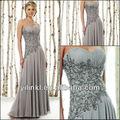 strapless bordado en el corpiño de gasa largo nuevo de la moda de plata gris de la madre de los vestidos de novia