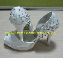 High quality satin crystal bridal shoes peep toe platform wedding shoes