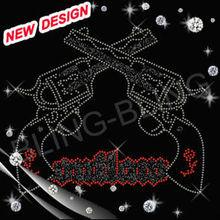 Hotfix crystal design double guns whole sale gun rhinestone transfers