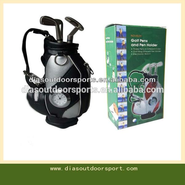 Desktop Golf Bag Pen Set with Clock