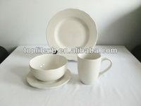 T1229 16pcs Plain White Fine Porcelain Dinner Set Dinnerware