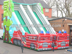 Inflatable Fire Truck Dual Lane Slide