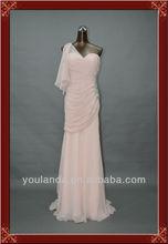 Gorgeous Column One Shoulder Beaded Pink Chiffon Arabic Evening Dress Long