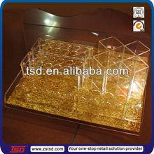 TSD-A732 retail store golden acrylic cosmetic display lipstick stand holder/acrylic lipstick organizer/lipstick case holder