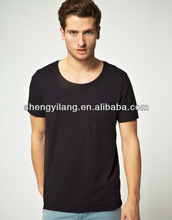 Men's loose neck plain t-shirt with chest pocket / mens big neck t-shirt T12832