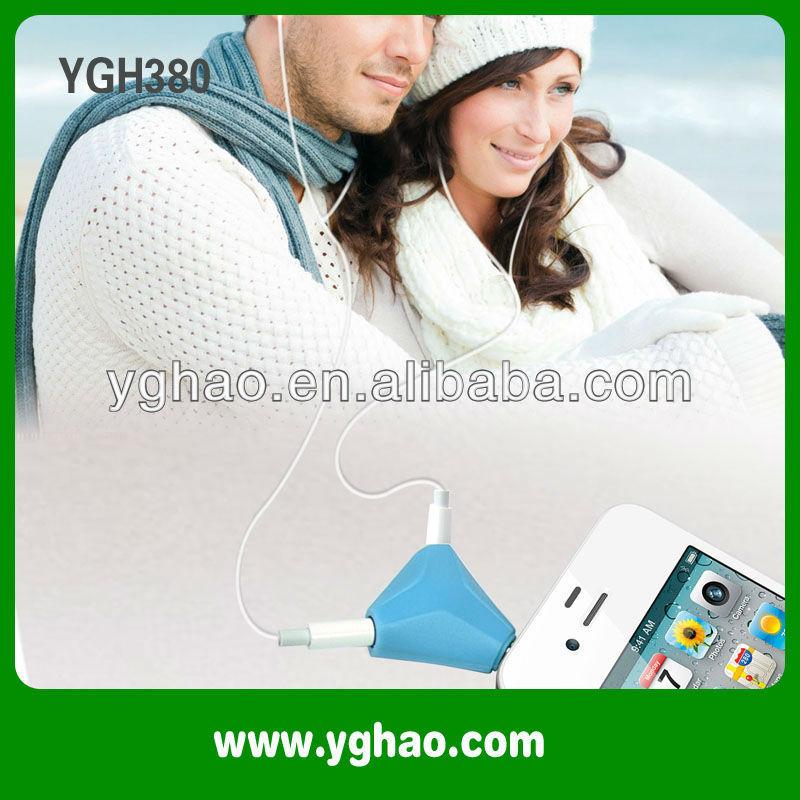 YGH381 earphone jack accessory ,3.5mm camera video splitter